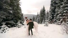 Noivo que gerencie a noiva feliz que guarda e que gerencie a em suas mãos na floresta do abeto vermelho da árvore de abeto do tem vídeos de arquivo
