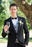 Noivo sofisticado que guarda a flauta de champanhe no jardim fotos de stock royalty free