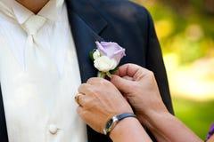 Noivo Wedding Day Attire imagens de stock