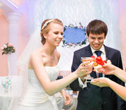 Noivos com Champagne fotos de stock royalty free
