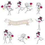 Noivos do stickman dos pares do casamento ilustração stock