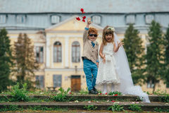 Noivos dois pequenos engraçados Fotografia de Stock