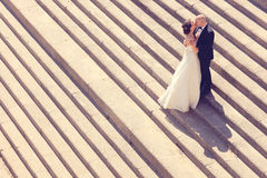 Noivos em escadas Fotografia de Stock Royalty Free