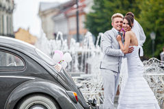 Noivos em um dia do casamento Imagens de Stock Royalty Free