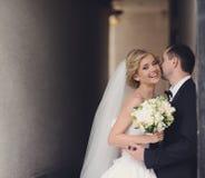 Noivos felizes em seu casamento imagem de stock