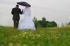 Noivos felizes em um campo bonito entre flores Imagem de Stock