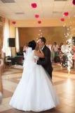 Noivos lindos delicados românticos no fundo do mo Imagens de Stock Royalty Free
