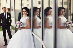 Noivos lindos delicados românticos no fundo do mo Fotos de Stock