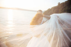 Noivos louros bonitos bonitos elegantes nas rochas, ami Imagem de Stock Royalty Free