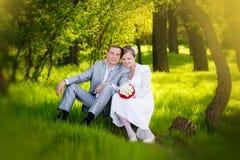 Noivos que abraçam e que olham nos olhos outro de um assento em uma grama verde Fotografia de Stock Royalty Free