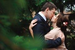 Noivos que abraçam em uma floresta na floresta do outono, caminhada do casamento foto de stock royalty free