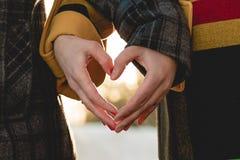 Noivos que guardam as mãos na forma do coração Fotos de Stock