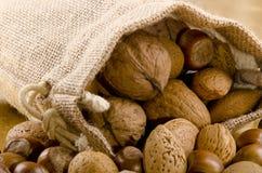 noix dans un sac brun de jute Photographie stock libre de droits