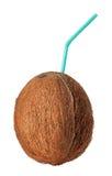 Noix de coco avec la paille d'isolement sur le blanc Images libres de droits
