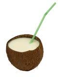 Noix de coco avec une paille de cocktail. Photo libre de droits