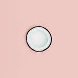 Noix de coco de mode sur le fond rose Style minimal Image libre de droits
