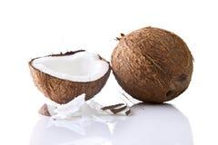 Noix de coco entière et une moitié avec des copeaux Photographie stock libre de droits