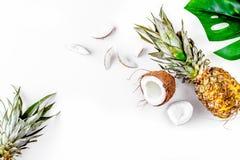 Noix de coco et ananas coupés en tranches dans le blanc exotique de conception de fruit d'été photos libres de droits