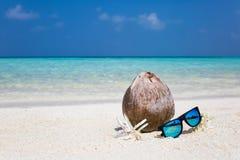 Noix de coco, fleurs et lunettes de soleil sur la plage Photo stock