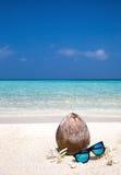 Noix de coco, fleurs et lunettes de soleil sur la plage Image libre de droits