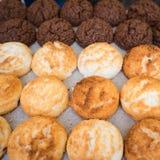 Noix de coco grillées douces et savoureuses riz et chocolat Images libres de droits