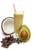 Noix de coco, jus d'ananas avec le chokolat de lait Photos stock