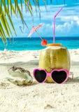 Noix de coco, lunettes de soleil roses et coquillage sur le plan rapproché de sable Photo libre de droits