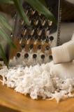 Noix de coco râpée avec la râpe et la noix Images stock