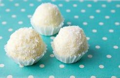 Noix de coco répandue autour des biscuits dans les supports Photo stock