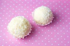 Noix de coco répandue autour des biscuits dans les supports Photo libre de droits