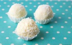 Noix de coco répandue autour des biscuits dans les supports Photos stock