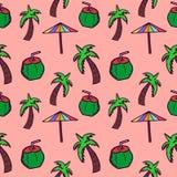 Noix de coco tirée par la main de griffonnage, parapluie, et modèle sans couture d'arbre Emballage de fond d'été et copie de text illustration libre de droits