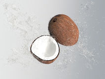 Noix de coco tropicale avec les bulles et l'éclaboussure de l'eau Image stock