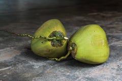 Noix de coco vertes fraîches sur le plancher en béton Photos libres de droits