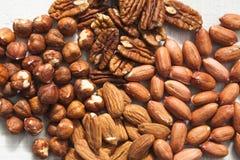 Noix de pécan et arachide de noisette d'amande Photographie stock