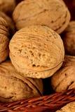 Noix et noyau entiers de noix dans un panier en osier Photographie stock libre de droits