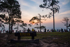 Nok Aen Cliff View point Sunrise. In the morning at PhuKradueng national park thailand Royalty Free Stock Photography