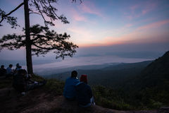 Nok Aen Cliff View point Sunrise. In the morning at PhuKradueng national park thailand Royalty Free Stock Images