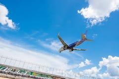Nok air airways plane landing at Phuket airport Royalty Free Stock Photo