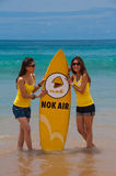 Nok Air Girls during quiksilver 2010. This is photograph taken during quiksilver 2010 Thailand Surfing tournament. Tournament took place 22-26 of november 2010 Stock Images