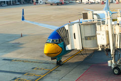 Nok Air passenger plane docked at the main terminal of Don Muean Stock Image