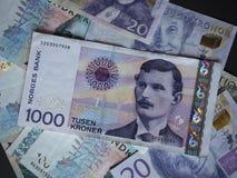 1000 NOK-anmärkning för norsk Krone Arkivbild