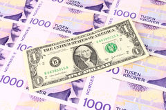 NOK-u. US-Bargeld lizenzfreies stockfoto
