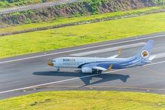 Nokair departed at phuket airport. Phuket, Thailand ; September 12,2558 airplane departed at phuket airport Royalty Free Stock Image