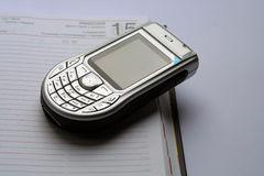 Nokia 6630 and the calendar Royalty Free Stock Photos