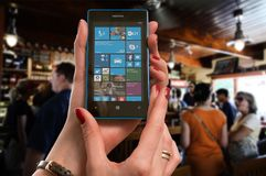 Nokia, Lumia, Microsoft, Woman, Bar Stock Photo