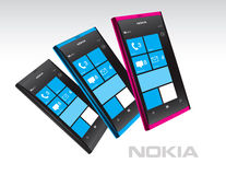 Nokia Lumia Windows Phones in Color. New design for Nokia smartphone in black, blue and pink. Featuring Windows Phone OS, handsets Lumia 800 and Lumia 710 Royalty Free Stock Photography