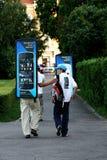 Nokia mobile phone advertising. Advertisers walking with a Nokia mobile phone add through town Stock Image