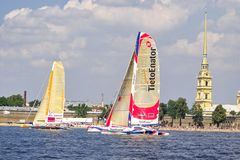 Nokia Oops Cup. St. Petersburg City Race, 2005. Nokia Oops Cup is a sail racing competition for Formula 60 trimarans. St. Petersburg City Race, Neva River Stock Images