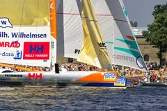 Nokia Oops Cup. St. Petersburg City Race, 2005. Nokia Oops Cup is a sail racing competition for Formula 60 trimarans. St. Petersburg City Race, Neva River Royalty Free Stock Image